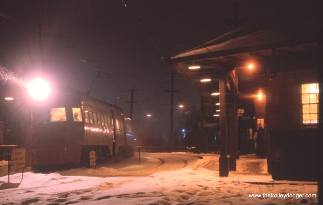 "This slide showing one of the North Shore Line Electroliners is dated January 1963, and who knows, it may have been taken on that last frigid night. Jerry Wiatrowski writes, ""The unidentified picture of the Electroliner was taken at North Chicago Junction. The train is Southbound coming off of the Waukegan bypass to Edison Court and Milwaukee."""