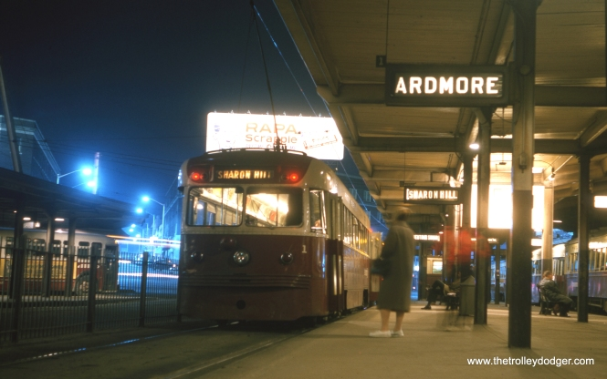 When this April 1964 picture was taken at the 69th Street Terminal in Upper Darby, Pennsylvania, the Red Arrow Lines were still privately held, and the Ardmore trolley was still running. Two and a half years later, it would be replaced by bus service. 1941-era Brilliner #1, a Sharon Hill car, is in the station.