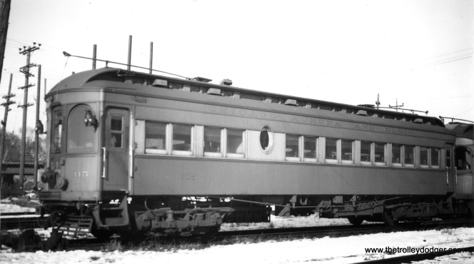 "Here is another photo of Chicago, Aurora & Elgin wood car 315. Don's Rail Photos says, ""315 was built by Kuhlman Car Co in 1909, #404. It was modernized at an unknown date and sold to Rockhill Trolley Museum in 1962."""