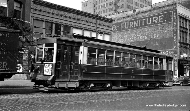"CSL ""Little"" Pullman 985 at Wabash and Roosevelt in September 1936. It was built in 1910. It appears to be on through route 3 - Lincoln-Indiana, which operated from 1912 to 1951."