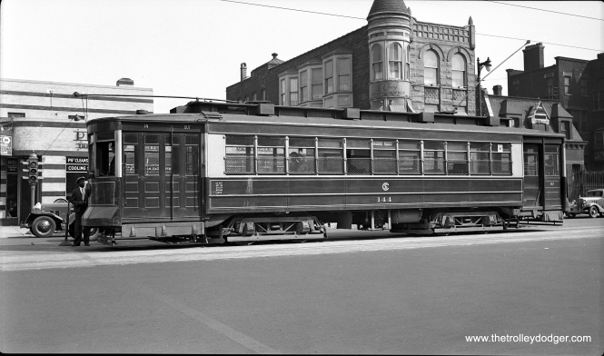 "CSL ""Big"" Pullman 144 on Cermak Road, September 19, 1934. Don's Rail Photos: ""144 was built by Pullman in 1908. It was acquired by Illinois Railway Museum in 1959."" It is rare to find pictures of the 144 in actual service as opposed to some 1950s fantrip."