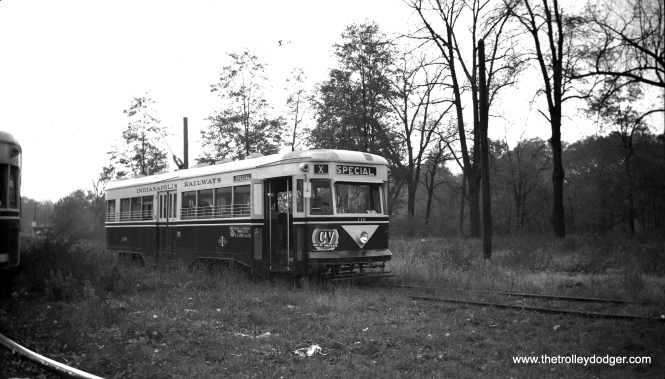 "Indianapolis Railways 146, shown here on a special run in 1949, was a Brill ""Master Unit"" but appears very similar to the Baltimore Peter Witts. This car was built in 1933, one of the last streetcars built before the PCC era. Brill tried to sell street railways on standardized cars (hence the name ""Master Units"") but as you might expect, no two orders were identical."