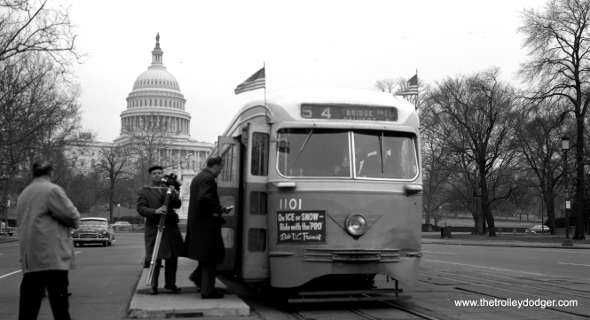 Capital Transit Company PCC 1101 in Washington, D. C., with the U. S. Capitol in the background. From the looks of the car in the background, this picture was probably taken in the mid1950s. Don't ask me why there are two different spellings of capitol/capital.