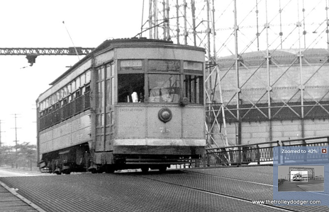 A close-up of the previous photo. This appears to be Chicago and Calumet District car 78, built by American in 1919.