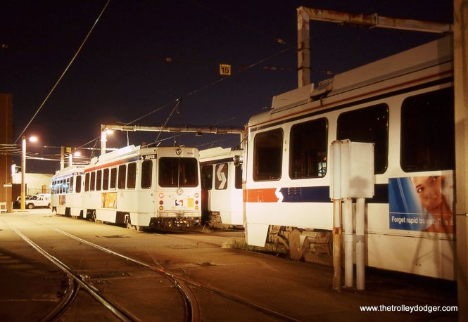 "A line-up of SEPTA Kawasaki LRVs or ""K Cars"" are under the yard lights waiting for the next call of duty."
