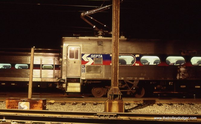 SEPTA Silverliner MUs under the yard lights at West Trenton, NJ 4/6/01