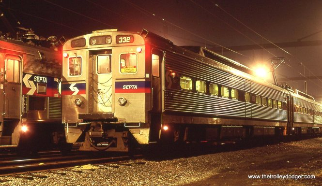 SEPTA Siverliner IV # 332 sits in the yard at West Trenton over the weekend awaiting Monday Morning. 4/6/01