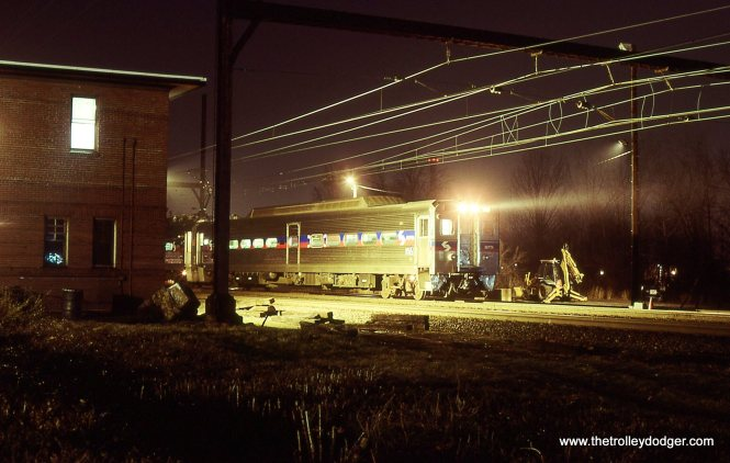 """A train of SEPTA Silverliner IV MU cars is sitting in front of """"TRENT"""" tower and will soon pull east to the passenger station to pick up riders for Philadelphia. 4/6/01"""
