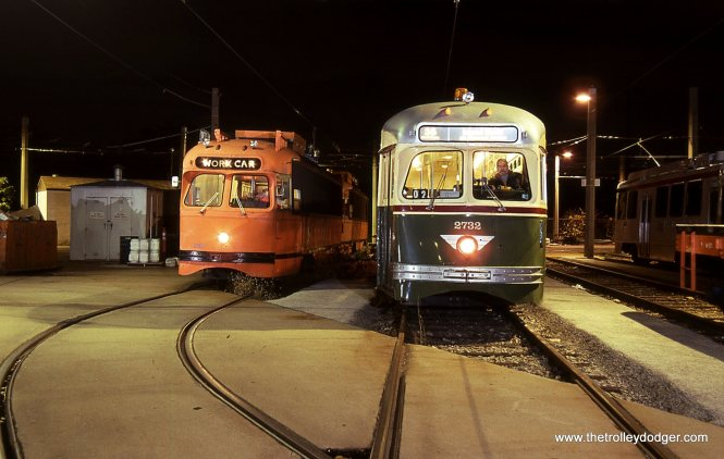 The fan trip being over, PCC # 2732 returned to the Elmwood Car house in Southwest Philadelphia and was posed with some work equipment. PCC 2732 is shown here next to PCC work car # 2187