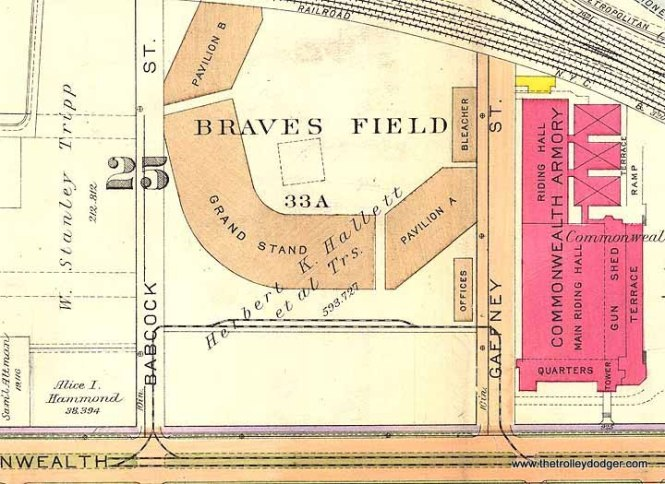 A map showing the Braves Field loop in 1916. A portion of this old ballpark still exists.