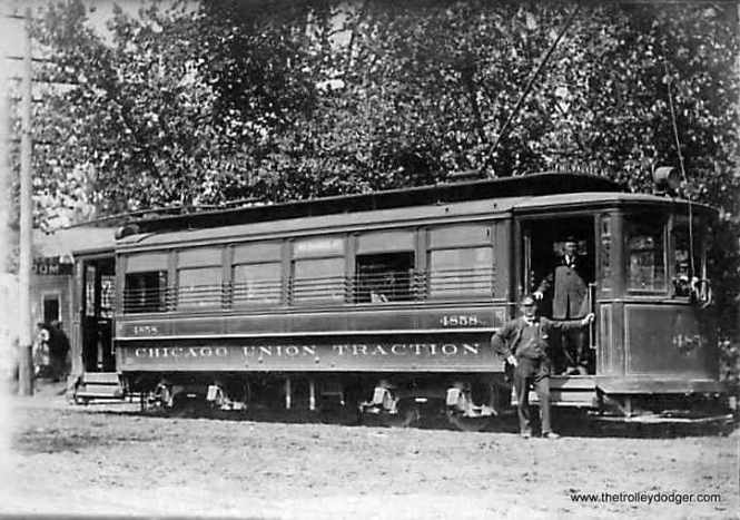 "Chicago Union Traction car 4858. According to Don's Rail Photos, ""These cars were built by St. Louis Car in 1903 and 1906 for Chicago Union Traction Co. They are similar to the Robertson design without the small windows. Cars of this series were converted to one man operation in later years and have a wide horizontal stripe on the front to denote this. Two were used for an experimental articulated train. A number of these cars were converted to sand and salt service and as flangers."" This car was probably renumbered to CSL 1329 and thus would be part of the same series as 1374, which has been restored to operable condition at the Illinois Railway Museum. The 1374 is one of the cars heard on our new Railroad Record Club tribute."
