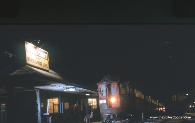A North Shore Line train stops at Edison Court in January 1963.