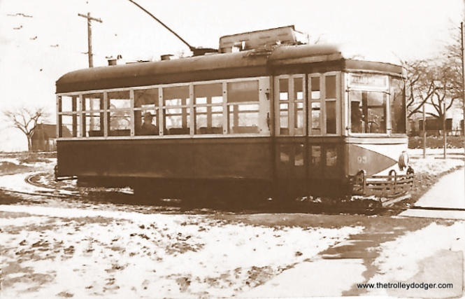 "Tony Manthos: ""Birney 93 (very elaborate 3), destination boards read ""Willard via Third."" Looks like end of line loop in pretty remote spot."" Frank Hicks: ""This is the Jamestown Street Railway in Jamestown, NY. This exact car (this isn't actually a Birney, it's a 1926 St. Louis Car Company product*) is currently being restored by a group there."" http://jamestowntrolley.org/trolrest/index.html"