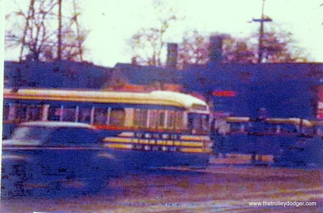 """Tiger stripes"" on route 20 - Madison, pulling out from the Madison-Austin loop. (John Marton Collection)"