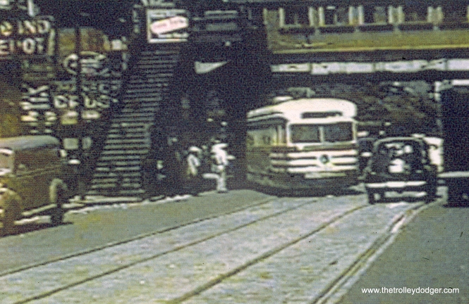 "A CTA ""tiger stripes"" car at the east end of the 63rd Street line. (John Marton Collection)"