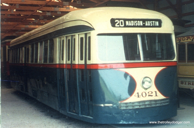 CSL/CTA 4021, the only prewar Chicago car that survives, at the Illinois Railway Museum in 2002. (John Marton Photo)