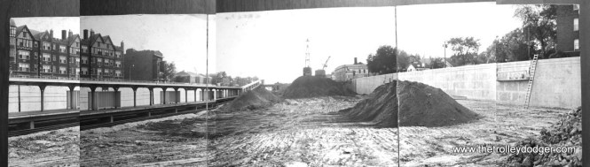 This composite photograph shows I290 under construction just east of Oak Park Avenue, circa 1959-60. The permanent CTA station at left does not appear to be in service yet. It opened on March 19, 1960.