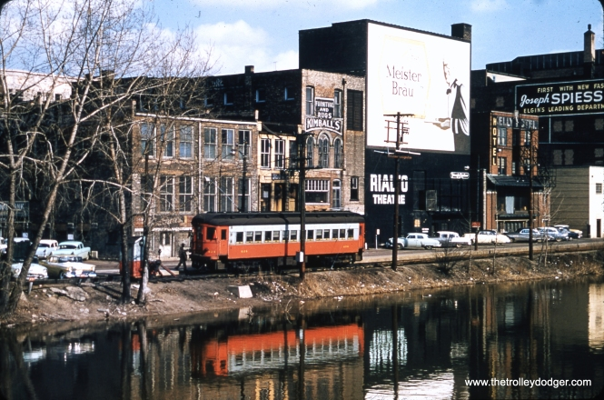 """CA&E 424 near the end of the line, along the Fox River in Elgin. Meister Brau was a well-known Chicago beer for many years. Each spring, they would sell """"Bock"""" beer, a stronger concoction made (I think) by scraping the bottom of the barrel. They introduced Meister Brau Lite in 1967. After Meister Brau got into financial difficulty in 1972, their brands were bought by Miller, who used Meister Brau Lite as the basis for developing Miller Lite."""