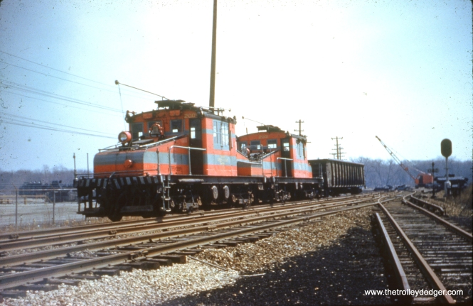 CA&E work motors 2001 and 2002 in service in March 1959. By this time, it had been nearly two years since the end of passenger service. Freight only continued for a few more months after this. (B. J. Misek Photo)
