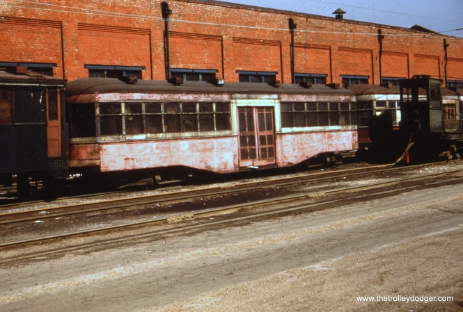 This 1920s-era Chicago Surface Lines trailer was looking pretty shopworn by the 1950s, when this picture was taken at South Shops.