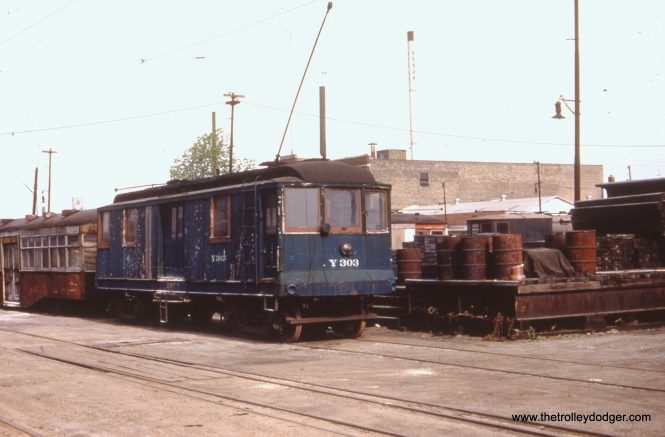"""CSL/CTA Y303 is listed as a """"baggage car,"""" although some have called it a MoW or maintenance of way car. It was retired on September 27, 1956. Don's Rail Photos says, """"Y303. baggage car, was built by C&ST in 1911 as 59. It was renumbered Y303 in 1913 and became CSL Y303 in 1914."""""""