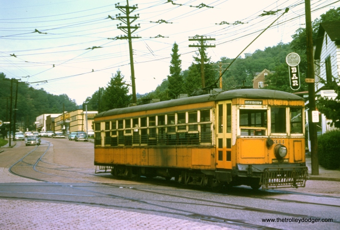 "Johnstown Traction double-truck Birney 311 on September 3, 1958. (Clark Frazier Photo) Rockhill Trolley Museum: ""The first car acquired by Rockhill Trolley Museum was car #311. This car is a double truck ""Birney Safety Car"" built by Wason Manufacturing Co. of Springfield, MA. It was part of an order of cars for the city of Bangor, Maine, where it operated at number 14. It was sold to the Johnstown Traction Co. and went there in 1941. It served that city well, running until the end of service in 1960. Car #311 was the last Birney type car to be operated in any United States city on a regular schedule. Car 311 was chartered repeatedly by trolley fans in the 1950's, as it was a favorite car of many."" (Clark Frazier Photo)"