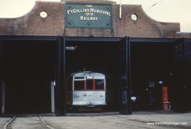 Car 26 in the Fort Collins car barn in June 1948.