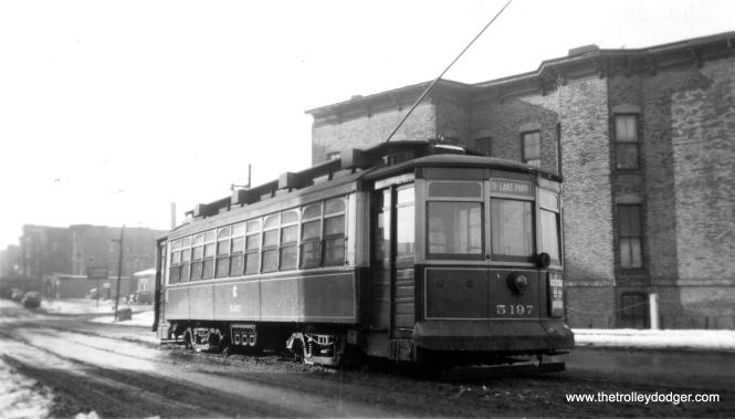 "CSL 5197 was a Brill-American-Kuhlman car. Don's Rail Photos notes, ""5001 thru 5200 were built by Brill in 1905, #14318, for the Chicago City Ry. where they carried the same numbers. They were rebuilt in 1908 to bring them up to the standard of the later cars."" This photo was taken at 31st and Lake Park. On the back of this photo, it notes, ""Abandoned 2/28/48."" That's when route 31 was ""bustituted."""