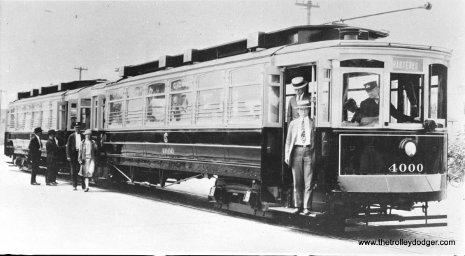 "Before experimental CSL car 4001, there was this articulated ""duplex"" car 4000. Don's Rail Photos says, ""4000 was built by St Louis Car Co in 1903 as Chicago Union Traction Co as 4633 and 4634. They were renumbered 1104 and 1105 in 1913 and became CSL 1104 and 1105 in 1914. They were renumbered 1101 and 1102 in 1925. They were rebuilt as an articulated train using a Cincinnati Car steel vestibule drum between the bodies. It was completed on August 3, 1925, and scrapped on March 30, 1937."" (CSL Photo, car shown on Cicero Avenue.)"