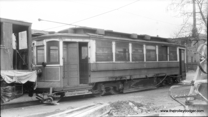 "CSL/CTA 1142, a Small St. Louis car, as it appeared on April 7, 1946. Don's Rail Photos adds, ""1142 was built by St Louis Car Co in 1903 as CUT 4671. It was renumbered 1142 in 1913 and became CSL 1145 in 1914. It was rebuilt as a salt car in 1930 and renumbered AA27 on April 15, 1948. It was retired on May 17, 1958."" This was a sister car to 1137, which was recently rediscovered after having been converted to housing in Wisconsin. We wrote about that in our post Lost and Found: Chicago Streetcar #1137 (June 3, 2015). (Meyer Photo)"