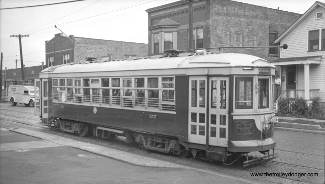 C&WT 157 was built by Cummings Car Co. in 1927 and I assume it was scrapped in 1948. It is shown here on the LaGrange line.