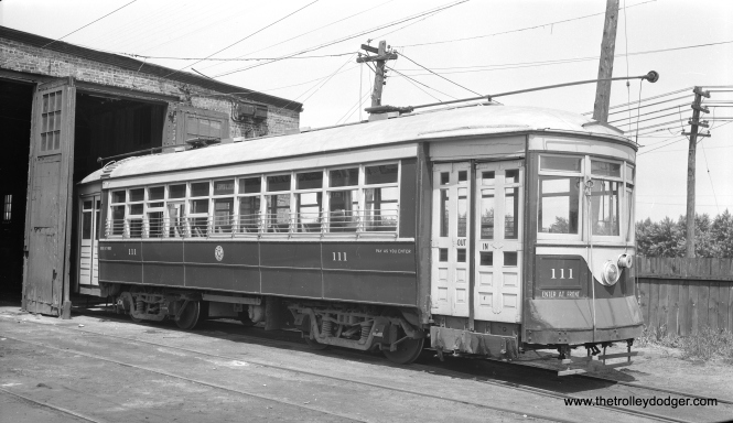 "C&WT 111 at the Harlem and 22nd car barn. Don Ross: ""111 was built by McGuire-Cummings in 1912. It was scrapped in 1948."""