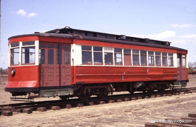 Another view of 144 on May 15, 1967. Some makeshift repairs are in evidence on this car, nine years after it last operated in Chicago. It has since been one of IRM's mainstays. (K. C. Henkels Photo)