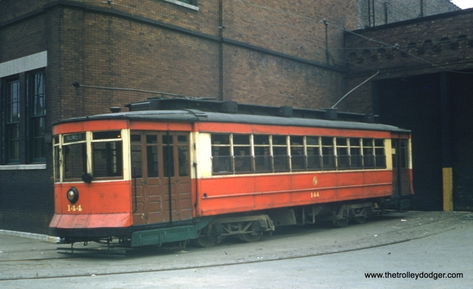 CTA red Pullman 144, as it looked at 77th and Vincennes in 1958, just prior to the abandonment of streetcar service in Chicago. The occasion was most likely the final red car fantrip, which took place on May 25th.