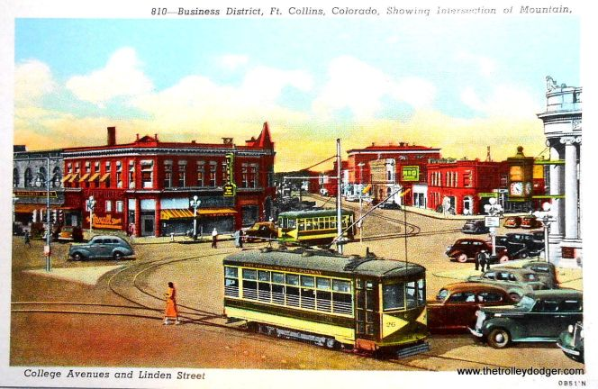 "This circa 1940 postcard shows the Ft. Collins Birneys in a different paint scheme, which is actually the one currently being used for the one operating car. Caption: ""The intersection of College and Mountain Avenues is the 42nd and Broadway of Ft. Collins. It is the heart of the business district, the crossroads of the town. Where all street cars meet and all highways converge."""
