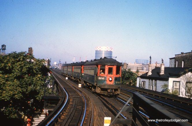 NSL 713 heads up a five-car train at Sedgwick in October 1958.