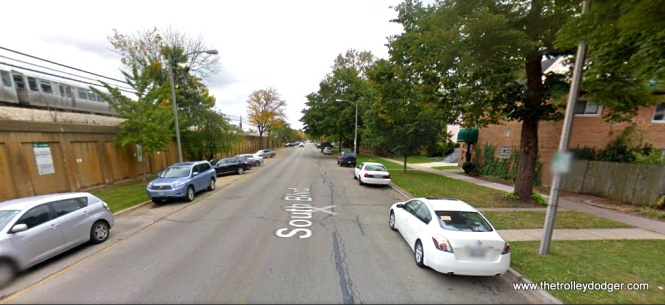 Here is a contemporary view, looking east along South Boulevard, just east of Euclid. Note the relative position of the tree at right (quite close to the sidewalk) and compare that to the 1951 picture. Could be the same tree.