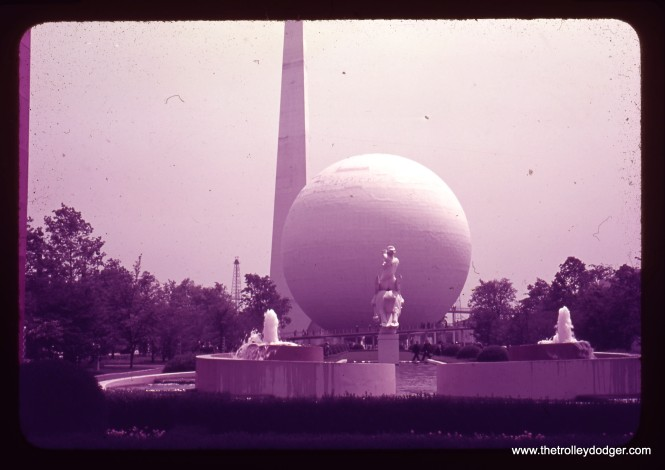 Yes, Virginia, there is such a thing as a faded Kodachrome slide. This 1939 photo of the Trylon and Perisphere at the New York World's Fair has shifted to magenta over the years. Apparently, the dyes in the earliest Kodachromes were nowhere near as stable as they soon became.