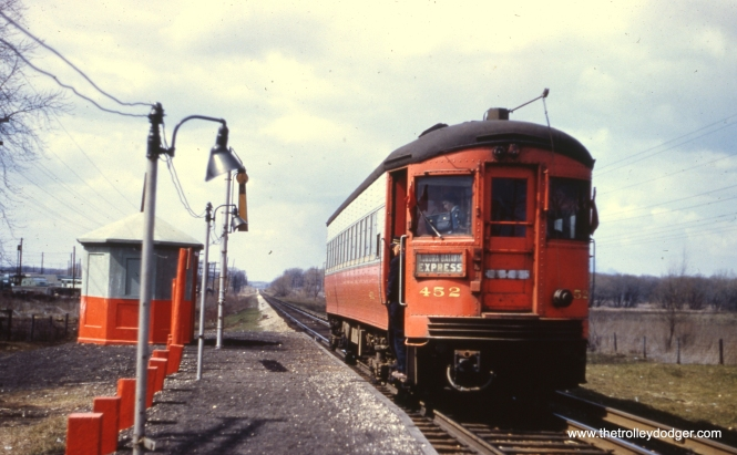 """CA&E 452 at Geneva Road on March 9, 1957. Nancy Grove Mollenkamp: """"This is in Winfield. I believe looking north."""""""