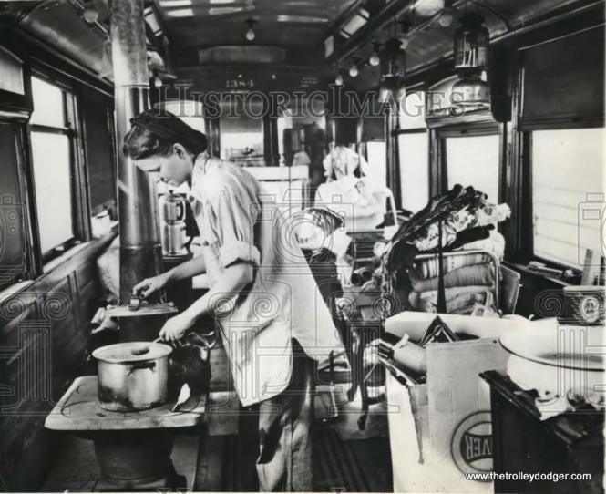 "To show you just how bad Chicago's postwar housing shortage was, some people purchased surplus streetcar bodies for use as temporary homes. The caption on this press photo reads, ""OVER-AGE STREET CAR BECOMES FAMILY'S HOME. CHICAGO- Mrs. Edith Sands prepares dinner on the small stove in the over-age streetcar where she and her husband, Arthur, and their five-month-old son, Jimmy, have just moved. The trolley car, which has seen nearly 50 years of service on Chicago streets, was purchased by the Sands at a recent public sale and propped up on a 5-acre site near Chicago's southern edge. The car is lighted by gasoline lamps."" (April 16, 1946) In our post Lost and Found: Chicago Streetcar #1137 (June 5, 2015), we wrote about how one of these old streetcars, once used for housing, was recently discovered in Wisconsin. It has since been moved to a museum where it will hopefully be preserved."
