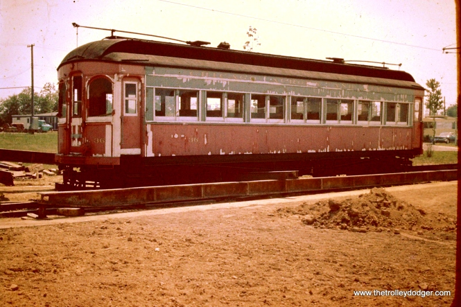 Here is Chicago, Aurora & Elgin car 36 at Trolleyville sometime in mid-1962. This car left Wheaton on April 14, 1962, and had already been repainted by January 1, 1963, so this picture must have been taken between those dates.