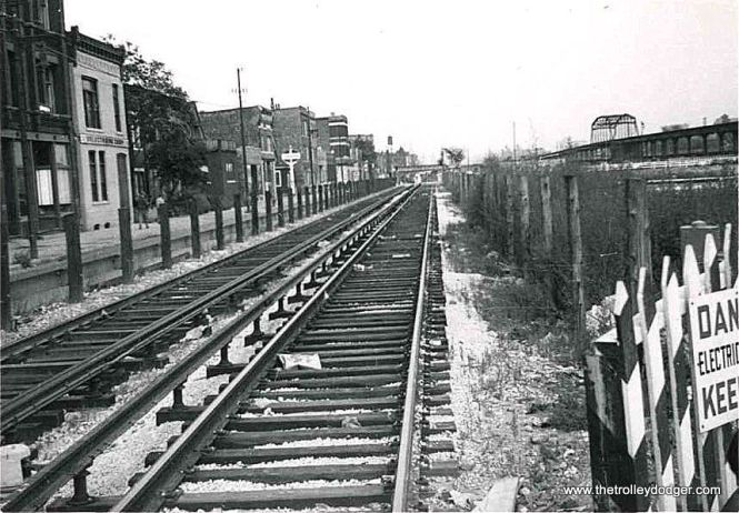 "Another view of the Van Buren trackage, circa 1953 since the old ""L"" is still extant at right."