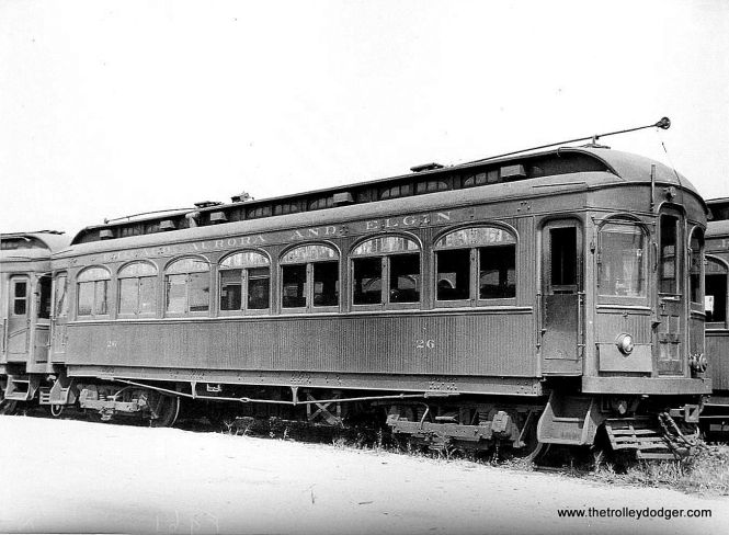 """CA&E wood car 26. (Paul H, Stringham Photo) Don's Rail Photos: """"26 was built by Niles Car in 1902. It was modernized in June 1943 and retired in 1959."""""""