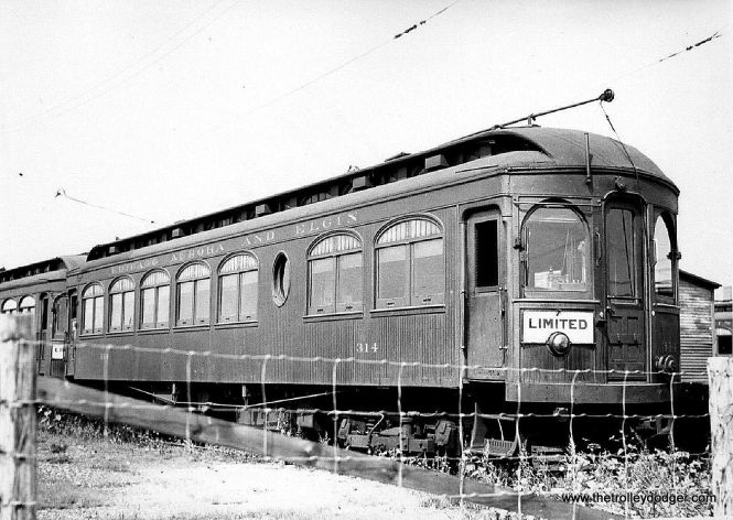 """CA&E wood car 314 at an unknown location. Don's Rail Photos says, """"314 was built by Kuhlman Car Co in 1909, #404. It was modernized at an unknown date."""" (Paul H. Stringham Photo)"""