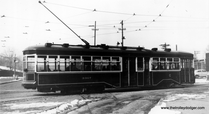 "CSL Sedan (Peter Witt) 3367 in service on the Cottage Grove route. Andre Kristopans: ""Sedan 3367 is turning west to north at 95th and Cottage Grove."" M. E. writes, ""The photo titled ""CSL Sedan (Peter Witt) 3367 in service on the Cottage Grove route"" must have been taken at 95th and Cottage Grove, because the streetcar is turning from one road to another. At 95th St. there were actually two Cottage Grove Aves.– one heading north along the west side of the Illinois Central main line, the other heading south along the east side of the IC main line. To connect from one Cottage Grove to the other (whether north- or southbound), the streetcars turned left onto 95th St., went under the IC, then turned right on the other Cottage Grove. As for which side of the IC this picture depicts, I believe it is the west side, because I recall a wall along the south side of 95th St. Ergo, this view is west on 95th and the streetcar is heading north."" (Robert V. Mehlenbeck Photo, Joe L. Diaz Collection)"