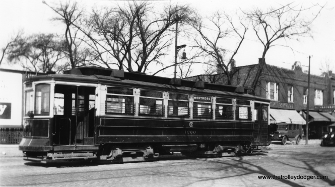 "CSL 1260 on Montrose. Andre Kristopans: ""1260 on Montrose might be at Knox. Does not appear to be at Milwaukee, but that was a 1930 extension, and this is likely before then."" (Robert V. Mehlenbeck Photo, Joe L. Diaz Collection)"