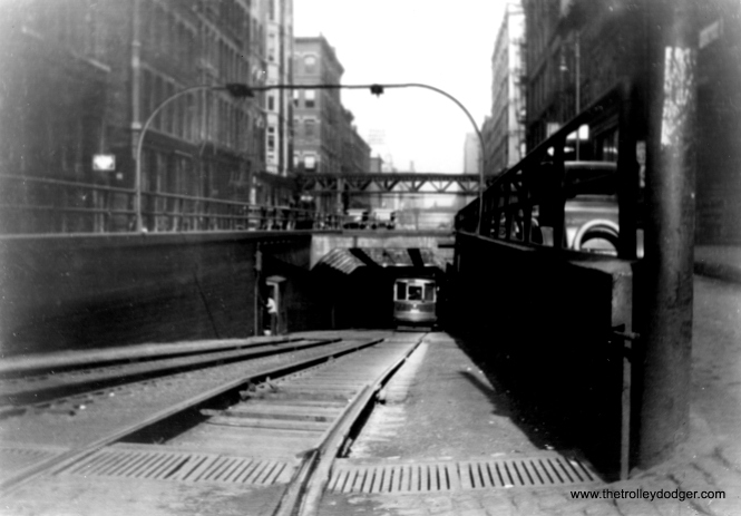 The old LaSalle Street streetcar tunnel, north of Randolph. (Fred J. Borchert Photo, Edward Frank, Jr. Collection)