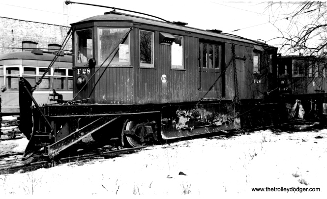 "CSL Snow Plow F28. Don's Rail Photos says, ""F28, plow, was built by McGuire-Cummings in 1924. It was retired on December 14, 1956."" (Joe L. Diaz Photo)"