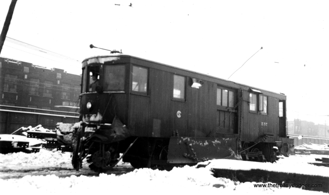 "Don's Rail Photos says, ""E57, sweeper, was built by Russell in 1930. It was retired on March 11, 1959."" (Joe L. Diaz Photo)"