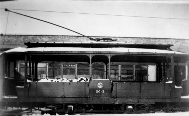 "CSL Sand Car R4 at Clark and Devon, circa 1930-32. Don's Rail Photos says, ""R4, sand car, was rebuilt by Chicago Rys in 1913 as M4. It came from 5569, passenger car. It was renumbered R4 in 1913 and became CSL R4 in 1914. It was retired in 1942."" (George Krambles Photo, Edward Frank, Jr. Collection)"